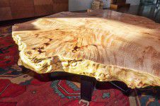 chicago-custom-furniture - Custom one of a kind burl wood coffee table with metal base designed by Runa Novak of In Your Space Interior Design - InYourSpaceHome.com and RunaNovak.com