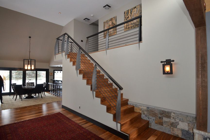 Charmant Aspen Custom Staircase   Custom Walnut Staircase With Stainless Steel Blade  Style Posts Designed