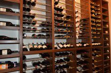 custom-wine-racks - Custom walnut and stainless steel wine rack designed by Runa Novak of In Your Space Interior Design - InYourSpaceHome.com and RunaNovak.com