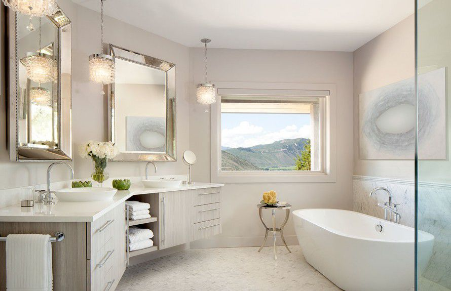 denver-interior-designers - Classically Modern master bathroom designed by Runa Novak of In Your Space Interior Design - InYourSpaceHome.com and RunaNovak.com
