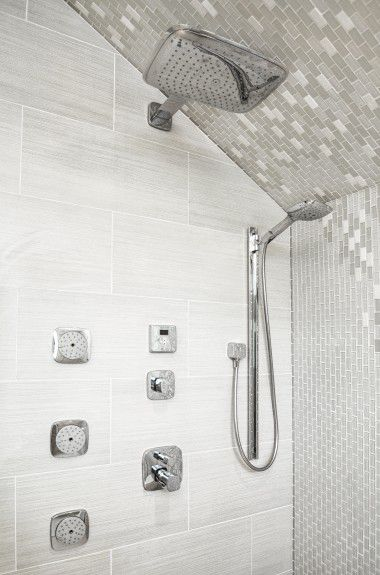 interior-designers-denver - A Luxury shower experience with rain shower, hand held shower, body spray, and steam designed by Runa Novak of In Your Space Interior Design - InYourSpaceHome.com and RunaNovak.com