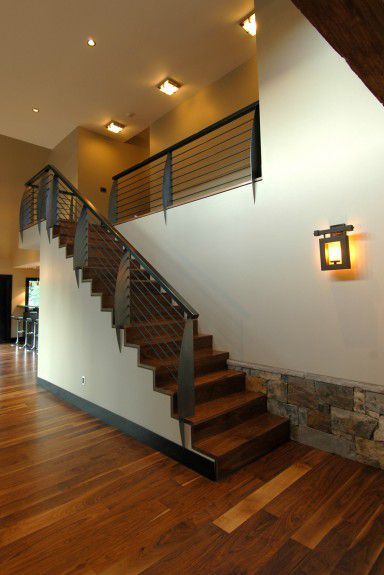 interior-design-firm-chicago - Custom metal blade railing and walnut stairs designed by Runa Novak of In Your Space Interior Design - InYourSpaceHome.com and RunaNovak.com
