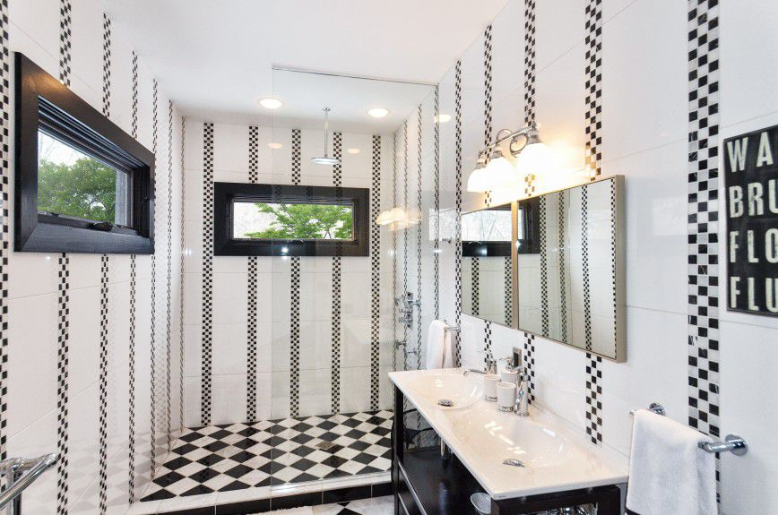 interior-designers-denver - Black and white modern bathroom with an open shower designed by Runa Novak of In Your Space Interior Design - InYourSpaceHome.com and RunaNovak.com
