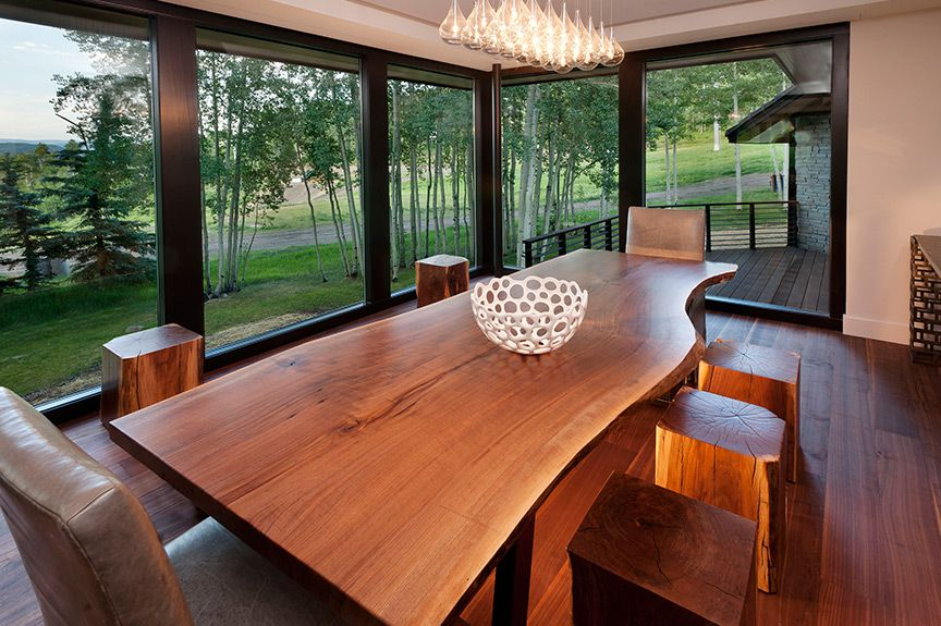 custom-furniture-denver - After photo of Aspen dining room with a custom black walnut dining room table with matching stools and a bench designed by Runa Novak of In Your Space Interior Design - InYourSpaceHome.com and RunaNovak.com