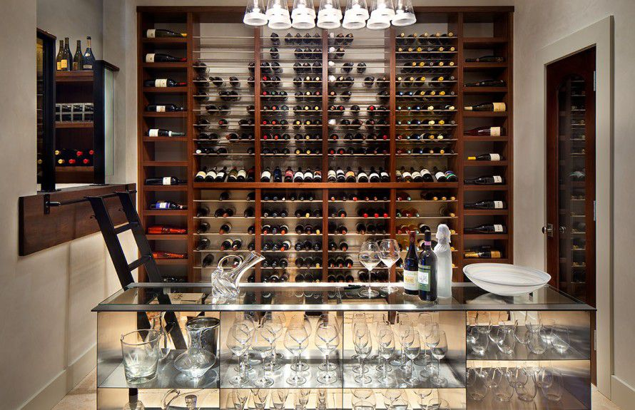 denver-interior-designers - A modern wine room with a storefront window and custom furniture designed by Runa Novak of In Your Space Interior Design - InYourSpaceHome.com and RunaNovak.com