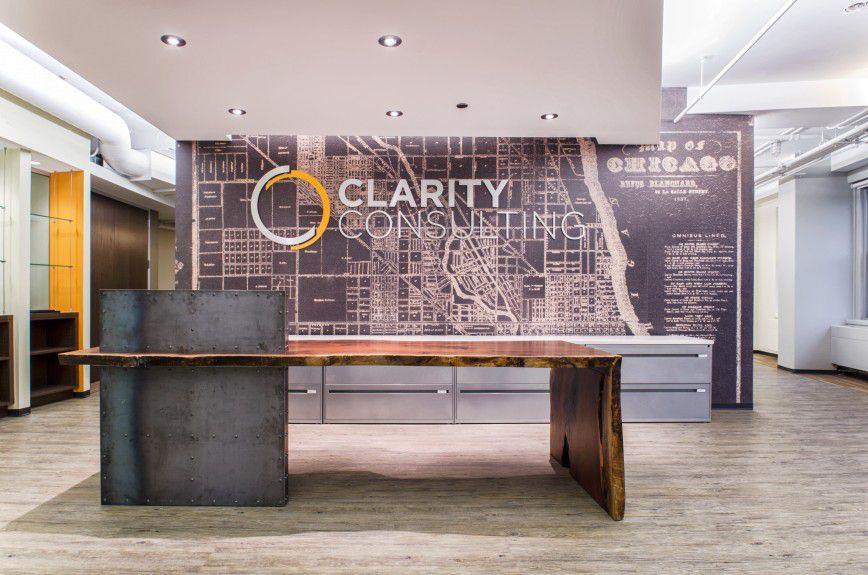 Office Reception Desk Custom Walnut With Live Edges And Distressed Metal